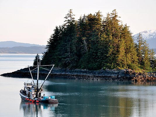 fishing boat near island